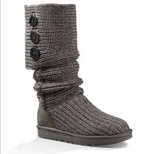 UGG Australia 6 Classic Cardy Grey Knit Tall Boots